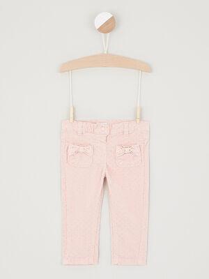 Pantalon slim coton majoritaire rose clair fille