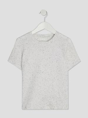 T shirt manches courtes ecru garcon