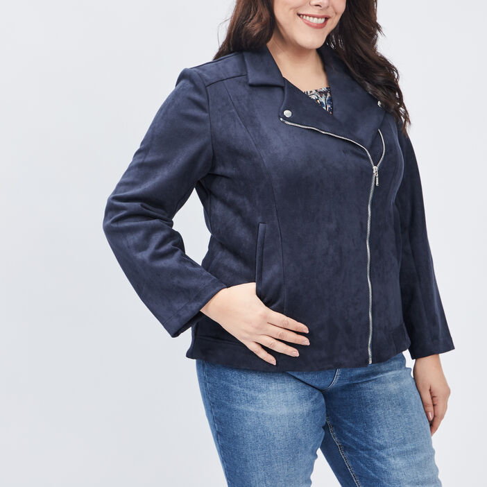 Veste style biker droite femme grande taille bleu marine