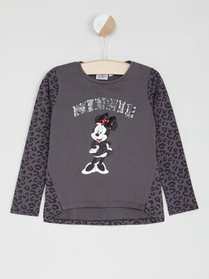 T shirt Minnie manches longues sequins gris fille