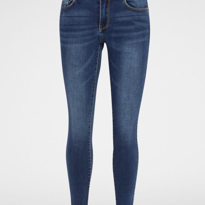 Jean coupe skinny taille basse femme denim stone