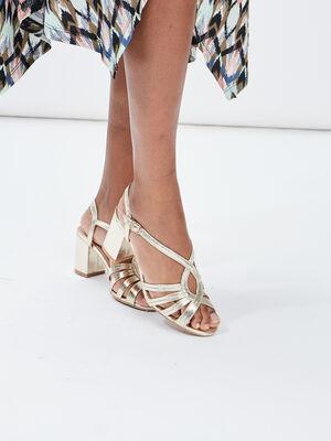 Sandales a talons metallisees couleur or femme