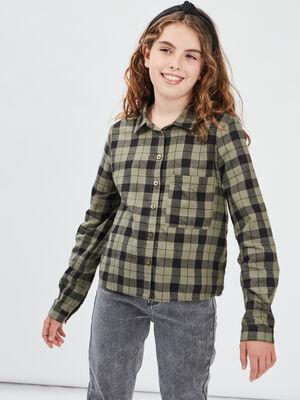 Chemise manches longues vert kaki fille