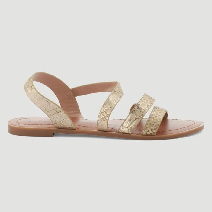 Sandales grecques à brides femme couleur or