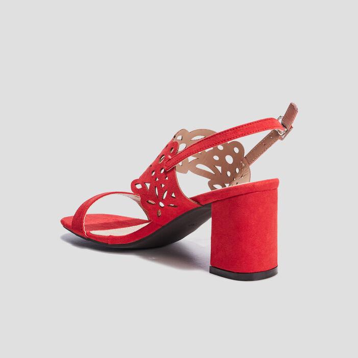 Sandales à talons ajourées femme rouge