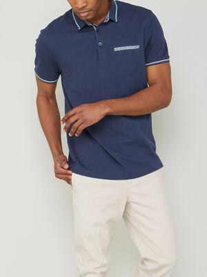 Polo manches courtes en coton bleu marine homme