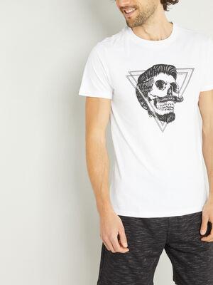 T shirt en coton imprime place blanc homme