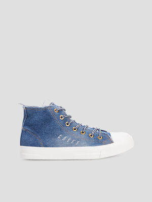 Baskets montantes en jean bleu femme