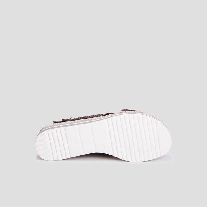 Sandales compensées femme vert kaki