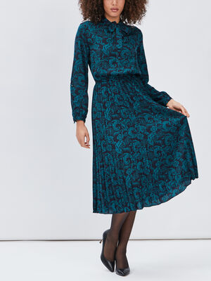 Robe longue evasee plissee bleu femme