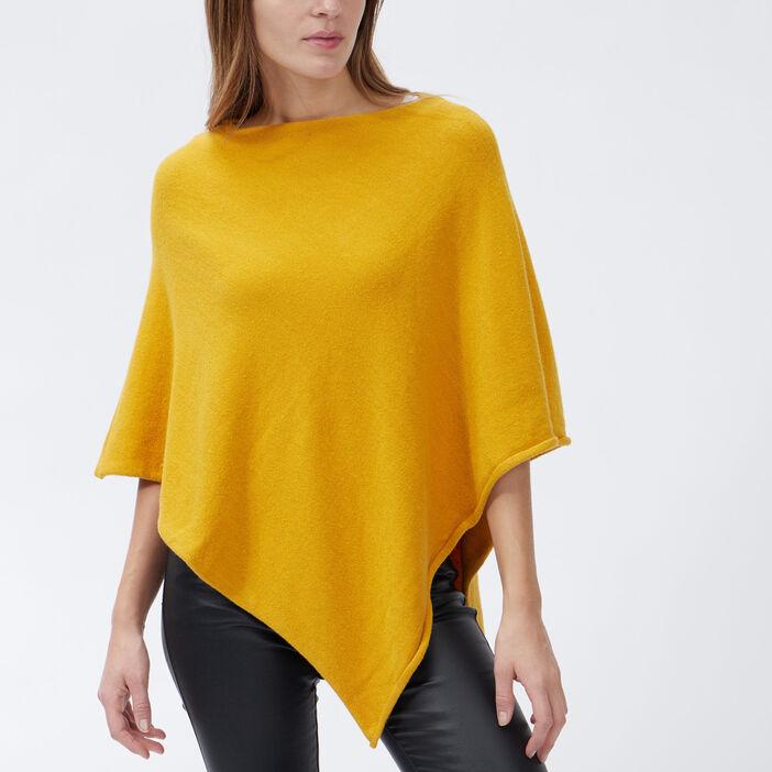 Poncho asymétrique femme jaune moutarde