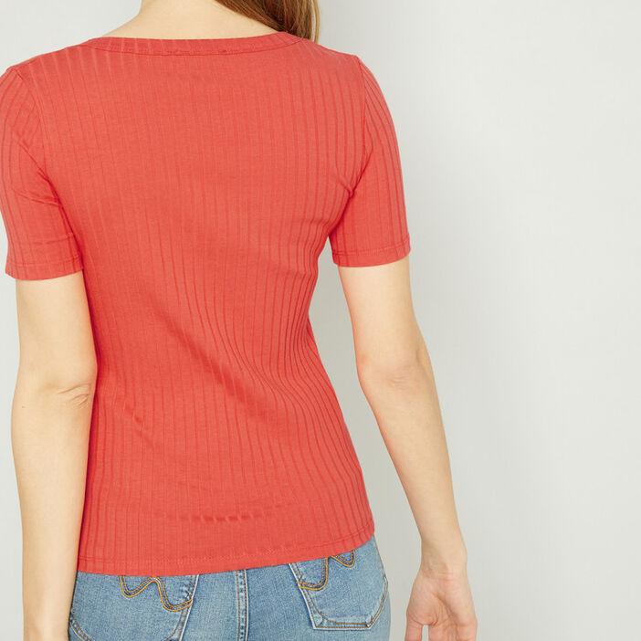T-shirt manches courtes femme orange foncé