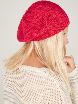 Beret tricot uni avec torsades rouge mixte