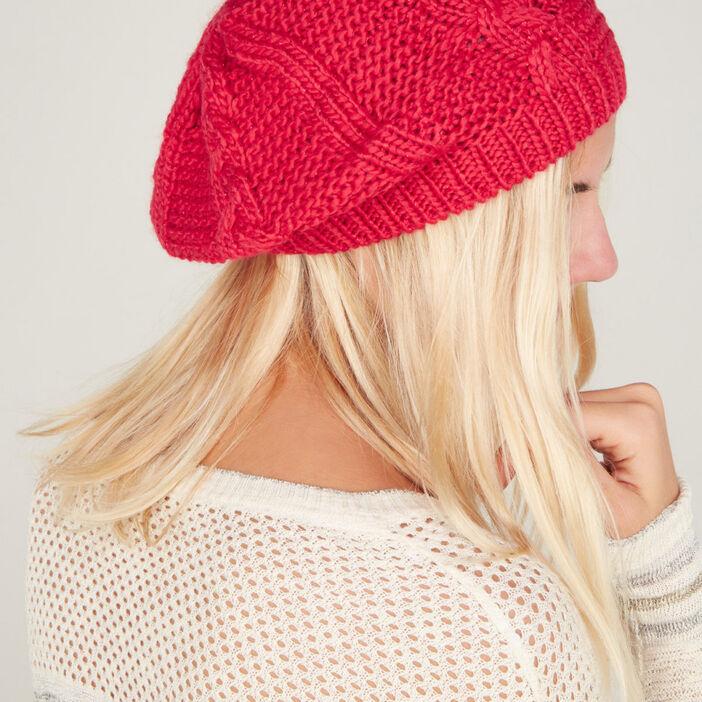 Béret tricot uni avec torsades mixte rouge