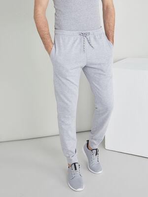 Jogging uni coton melange gris homme