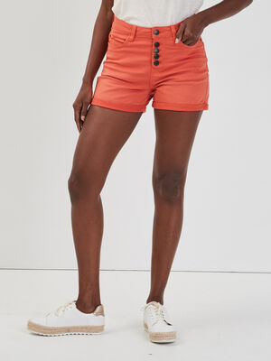 Short slim boutonne Creeks orange femme