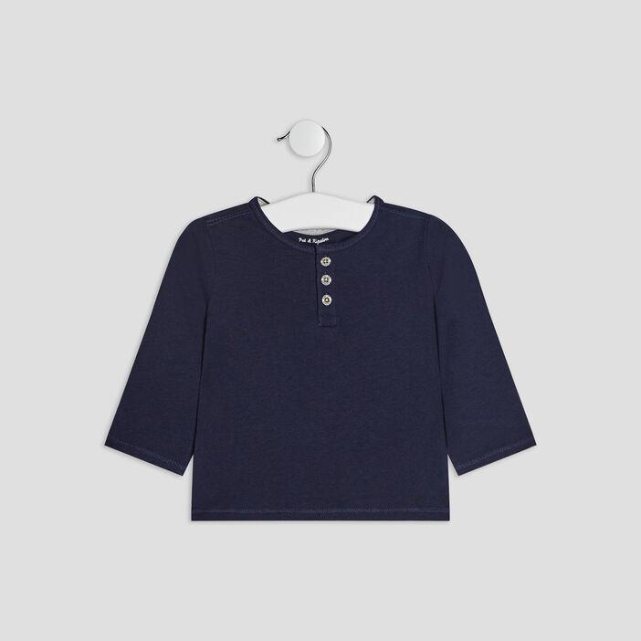 T-shirt coton uni col boutonné bébé garçon bleu marine