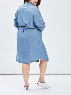 Robe chemise droite ceinturee denim double stone femmegt