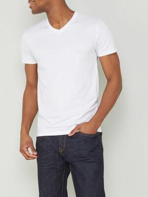 T shirt col V uni blanc homme