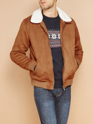 Blouson a col chemise sherpa camel homme