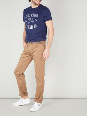 Pantalon droit uni camel homme