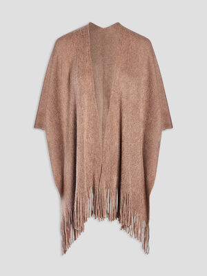 Poncho a franges taupe femme