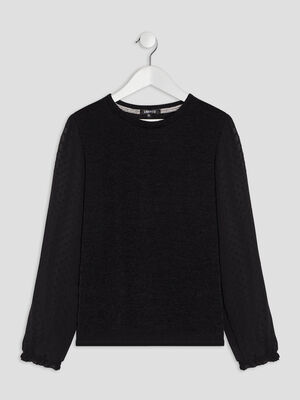 Pull a col rond Liberto noir fille
