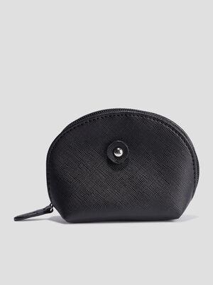 Porte monnaie arrondi noir femme