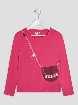 T shirt manches longues rose fushia fille