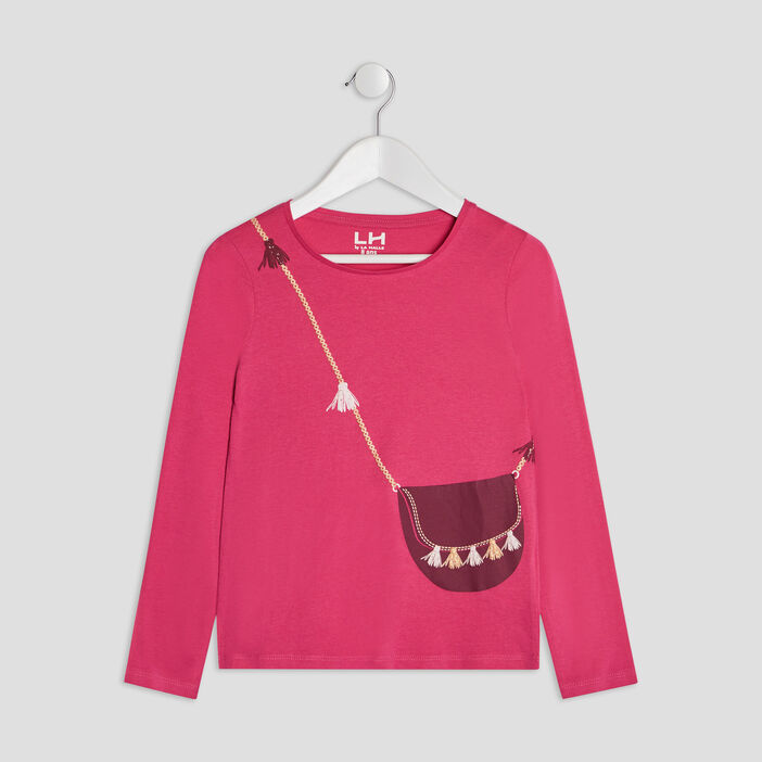T-shirt manches longues fille rose fushia