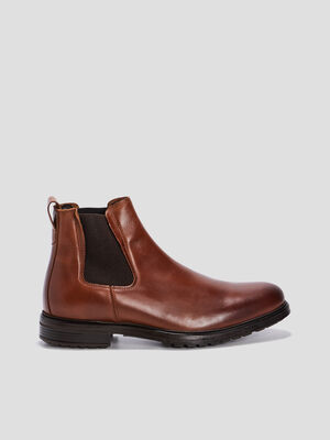 Bottines plates en cuir marron homme