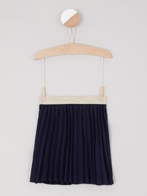 Jupe plissee taille elastiquee irisee bleu marine fille
