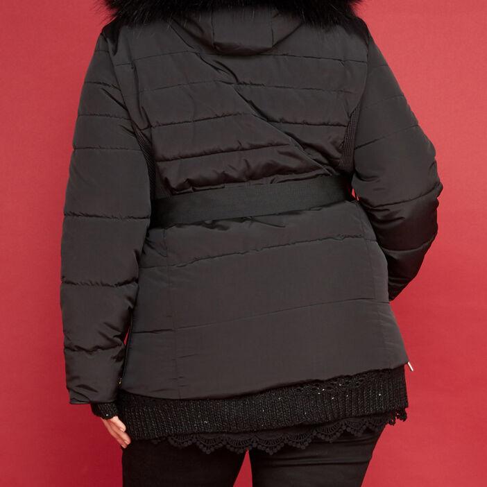 Doudoune mi-longue à capuche femme noir