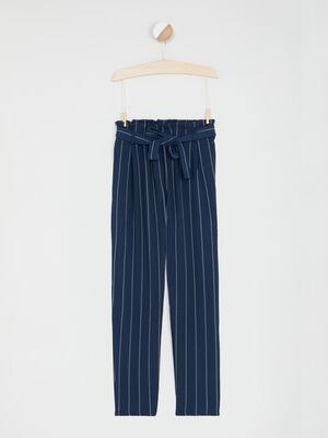 Pantalon droit fluide ceinture bleu marine fille
