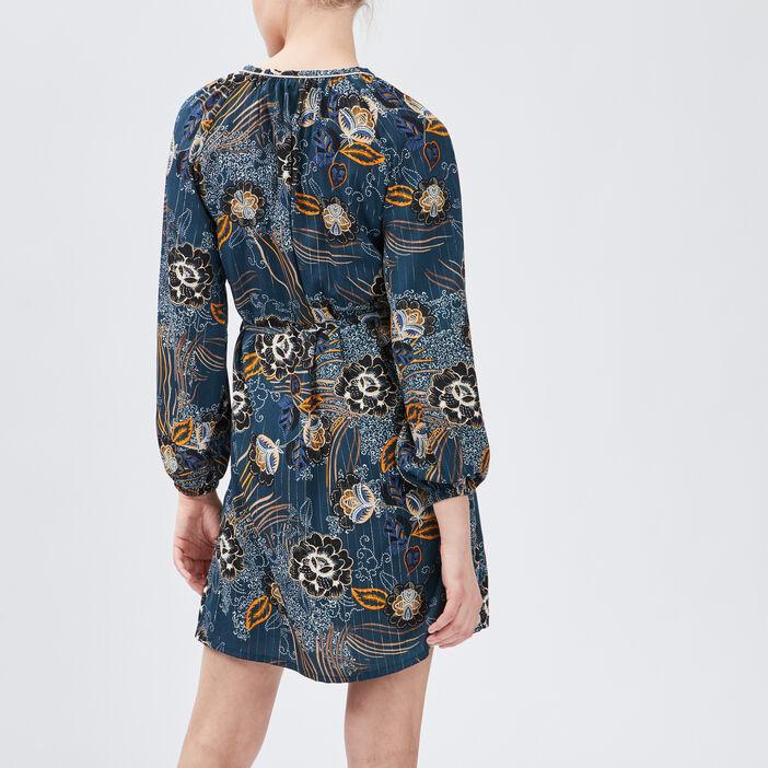 Robe droite ceinturée femme bleu canard