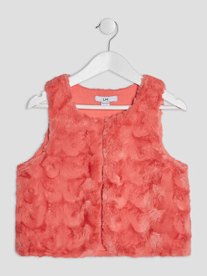 Gilet sans manches orange corail fille