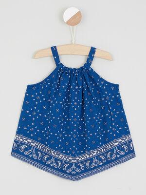 Robe bretelles imprime esprit bandana bleu fille