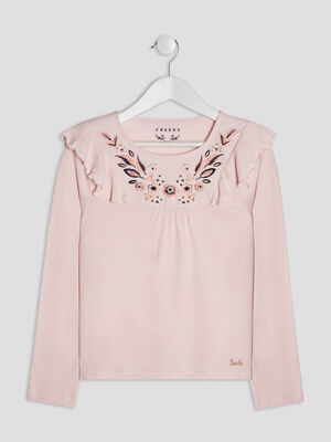 T shirt manches longues Creeks rose fille