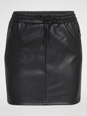 Mini jupe droite similicuir noir femme