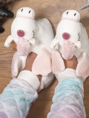 Chaussons licorne 3D blanc fille