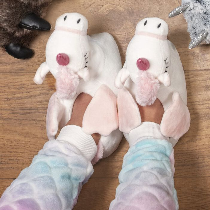 Chaussons licorne 3D fille blanc