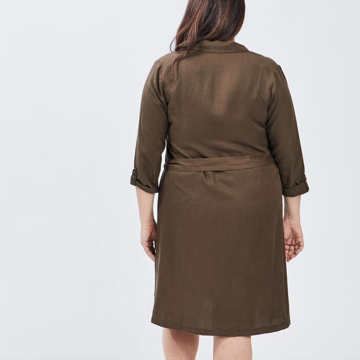 Robe chemise droite ceinturée femme grande taille vert kaki
