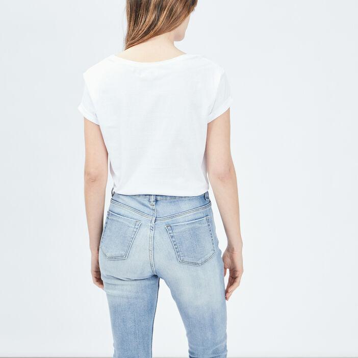T-shirt manches courtes Creeks femme ecru
