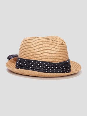 Chapeau tresse a ruban marron femme
