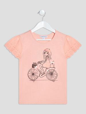 T shirt manches courtes Creeks orange corail fille
