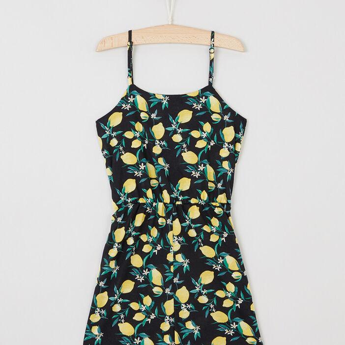 Combinaison short motifs citrons fille noir