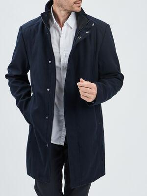 Manteau droit a col montant bleu marine homme