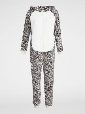 Combinaison motif leopard a capuche beige femme