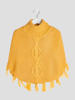 Poncho col roule jaune moutarde fille