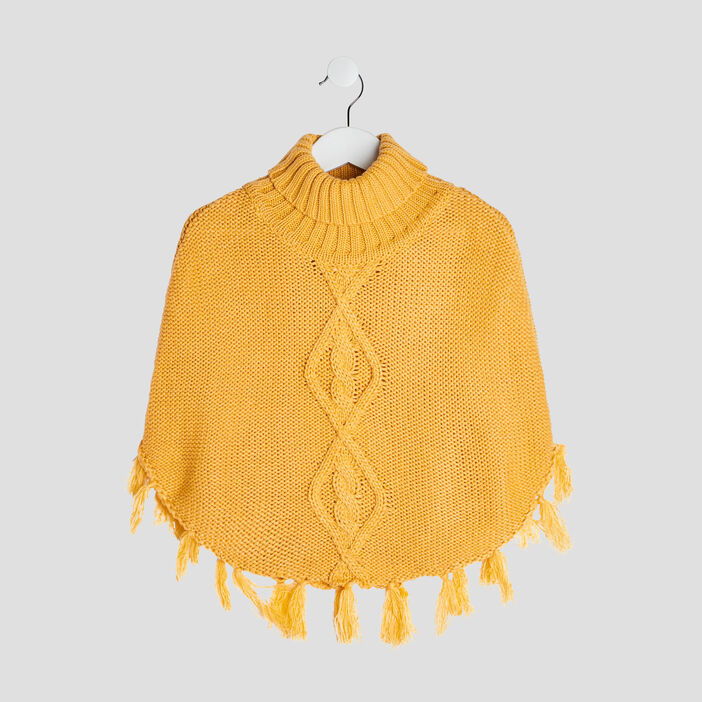 Poncho col roulé fille jaune moutarde